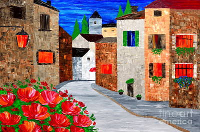 Walking In The Old Town Art Print
