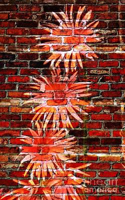 Mixed Media - Gerberas On A Wall 1 by Leanne Seymour