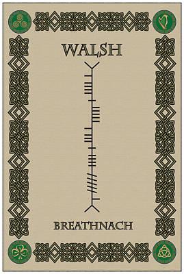 Walsh Digital Art - Walsh Written In Ogham by Ireland Calling