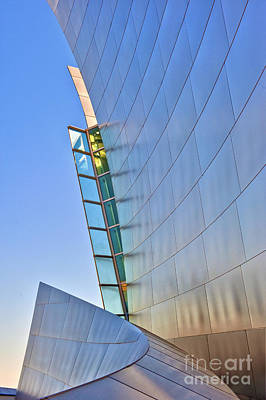 Photograph - Walt Disney Concert Hall Vertical Exterior Building Frank Gehry Architect by David Zanzinger