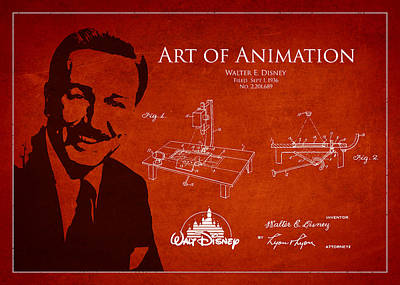 Disneyland Digital Art - Walt Disney Patent From 1936 by Aged Pixel