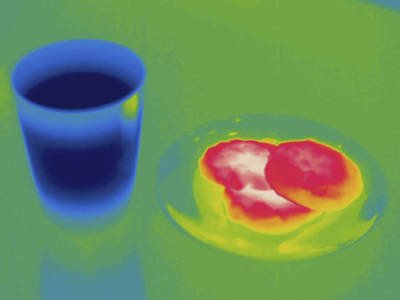 Warm Cookies And Cold Milk, Thermogram Art Print by Science Stock Photography