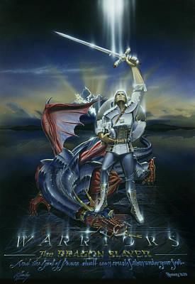 Warriors Dragon Slayer Art Print by Cliff Hawley