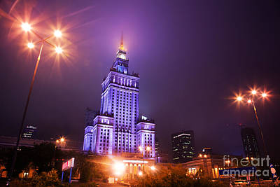 Photograph - Warsaw Poland Downtown Skyline At Night by Michal Bednarek