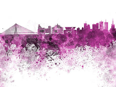 Poland Art Painting - Warsaw Skyline In Pink Watercolor On White Background by Pablo Romero
