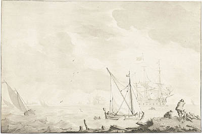 Warship At The Beach, Jurriaan Cootwijck Art Print by Jurriaan Cootwijck And Ludolf Bakhuysen
