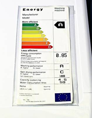 Good Energy Photograph - Washing Machine Energy Rating Label by Martyn F. Chillmaid