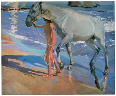 Horses In The Ocean Painting - Washing The Horse by Joaquin Sorolla Y Bastida