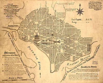 Washington Dc Vintage Map Art Print by Baltzgar