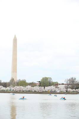 Outside Photograph - Washington Monument - Cherry Blossoms - Washington Dc - 01138 by DC Photographer