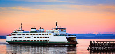 Washington State Ferry Print by Inge Johnsson