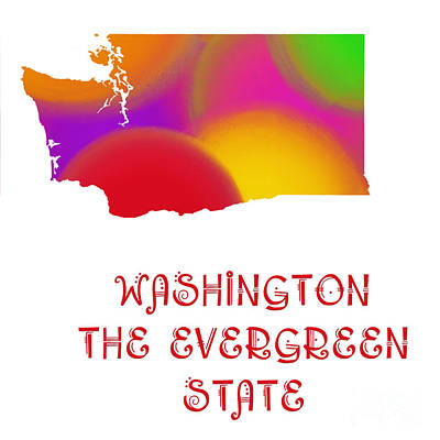 Washington State Map Collection 2 Art Print by Andee Design