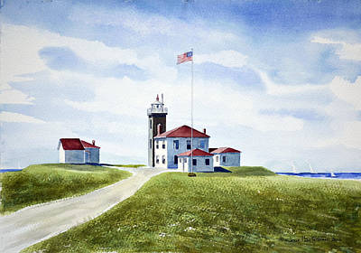 Painting - Watch Hill Ri Lighthouse by Joan Hartenstein