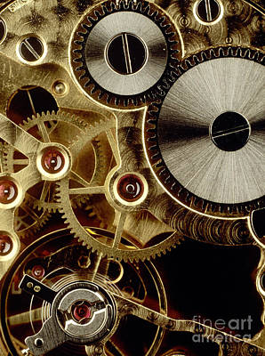 Watch Mechanism. Close-up Art Print by Bernard Jaubert