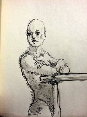 Androgyny Drawing - Watching Her by H James Hoff