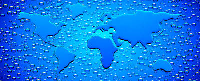 Digital Enhancement Photograph - Water Drops Forming Continents by Panoramic Images