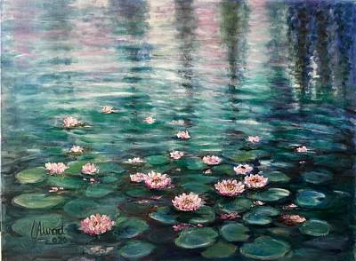 Art Print featuring the painting Water Lilies by Laila Awad Jamaleldin