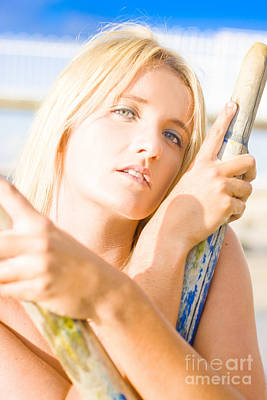 Water Sport Woman Holding Oars Art Print