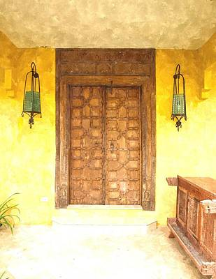 watercolor of antique Moroccan style wooden door  on yellow wall Art Print by Ammar Mas-oo-di