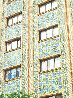 Ceramic Art Tile Painting - Watercolor Of Mosaic Tiles Decoration On Building Facade In Tehran In Iran by Ammar Mas-oo-di