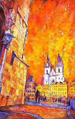 14th Century Painting - Watercolor Of Prague Sunrise by Ryan Fox