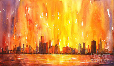 Watercolor Painting Of Skycrapers Of Downtown Chicago As Viewed  Original