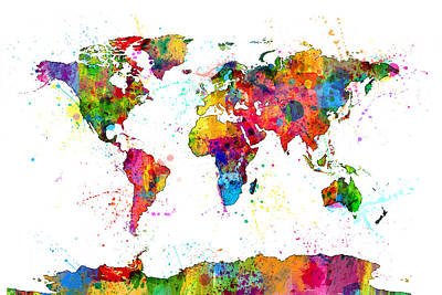 Globes Digital Art - Watercolor Political Map Of The World by Michael Tompsett