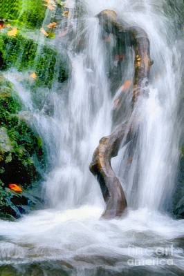 Rill Painting - Waterfall Painting by Odon Czintos