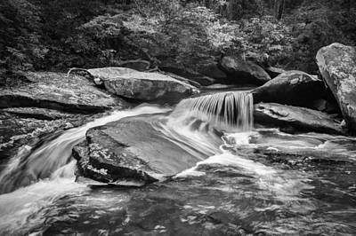 Waterfalls Great Smoky Mountains Painted Bw  Art Print