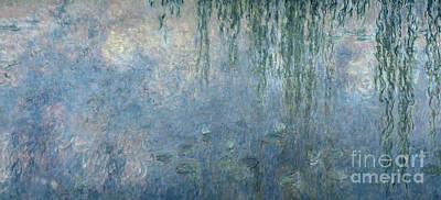 Lily Pad Painting - Waterlilies Morning With Weeping Willows by Claude Monet