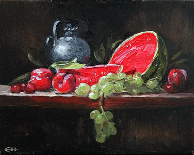 Painting - Watermelon And Plums by Ellen Howell