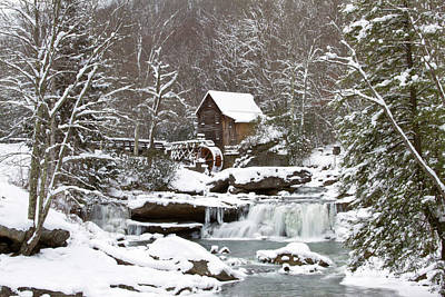 Watermill In A Forest In Winter, Glade Art Print by Panoramic Images