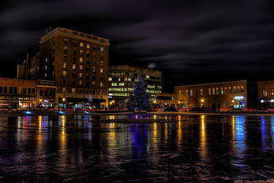 Photograph - Wausau After Dark At Christmas by Dale Kauzlaric
