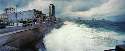 Waves Splash Photograph - Waves Splashing Into The Malecon by Panoramic Images