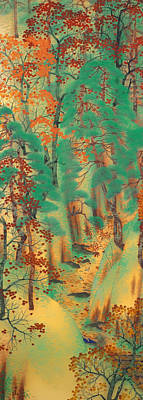 Japanese Silk Painting - Way To Atago by Mountain Dreams