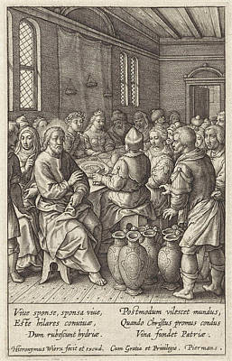 Water Jars Drawing - Wedding At Cana, Hieronymus Wierix by Hieronymus Wierix