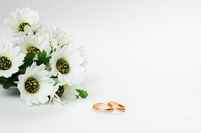 Leaf Engagement Ring Photograph - Wedding Rings And Flowers by Michal Bednarek