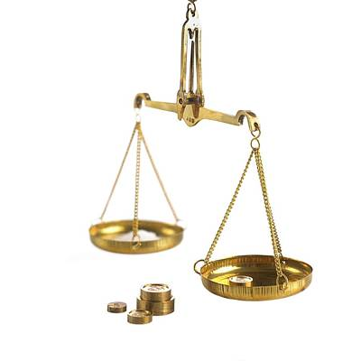 Weighing Scales With Weights Art Print by Science Photo Library