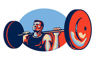 Weightlifter Lifting Weights Retro Art Print