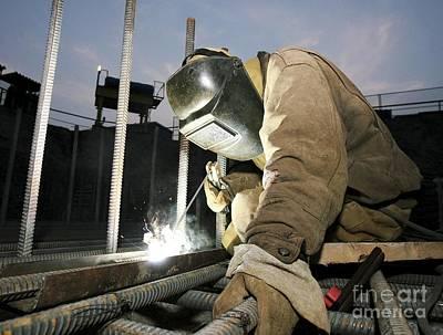 Arc Welder Photograph - Welder Working On A New Bridge by RIA Novosti