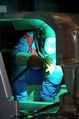 Soldered Photograph - Welding In Train Construction by Andrew Wheeler