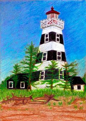 Drawing - West Point Lighthouse by Jo Prevost
