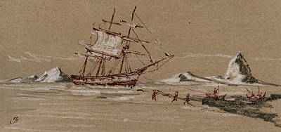Ice Fishing Painting - Whaler Ship by Juan  Bosco