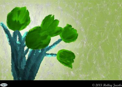 Digital Art - What's Up Green by Holley Jacobs
