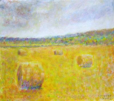 Wheat Bales At Harvest Art Print