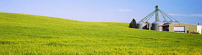 Wheat Field With Silos Art Print by Panoramic Images