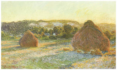Hayfield Painting - Wheatstacks End Of Summer by Claude Monet