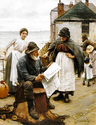 Old Man Digital Art - When The Boats Are Away by Walter Langley