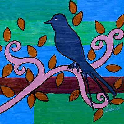 Painting - Whimsical Blue Bird by Pristine Cartera Turkus