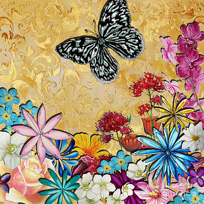 Dragonflies Painting - Whimsical Floral Flowers Butterfly Art Colorful Uplifting Painting By Megan Duncanson by Megan Duncanson